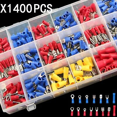 1400pc Assorted Insulated Electrical Wire Terminal Crimp Connector Spade Set Kit