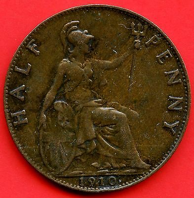 1910 Great Britain Half Penny Coin