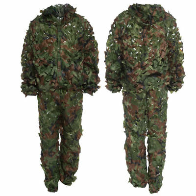 Camouflage Jungle Hunting Ghillie Suit Set Woodland Sniper Birdwatching Poncho