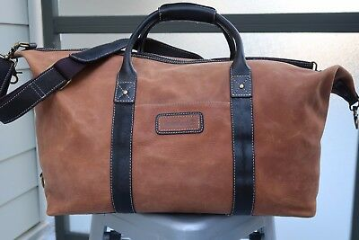 "TIMBERLAND Vintage Leather Rugged Heavy Duty Large Duffle Bag 20"" Tan/Dark Brown"