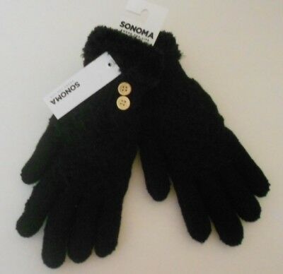 Women's Knit Black Winter Gloves with Plush Lining One Size by Sonoma NWT