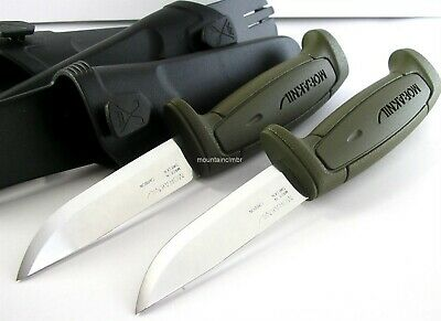 2 Pc Set Mora Morakniv Basic 511 GREEN Skinner Carbon Steel Knife Sweden OLIVE