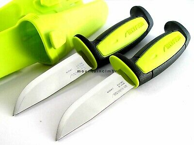 2 Pc Lot Mora Morakniv Basic 511 GREEN LIME Skinner Carbon Steel Knife Sweden