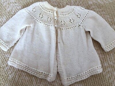 Kids Girls Boys Hand Knit Knitwear Beige Cream Cardigan Coat Top One Size  0-1