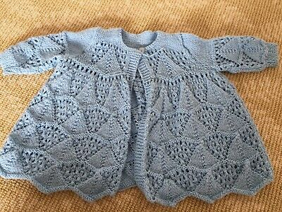 Kids Girls Boys Hand Knit Knitwear BLue Cardigan Coat Top One Size  0-1