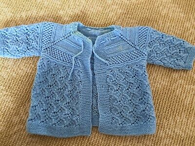 Kids Girls Boys Hand Knit Handmade Knitwear Blue Cardigan Coat Top One Size  0-1