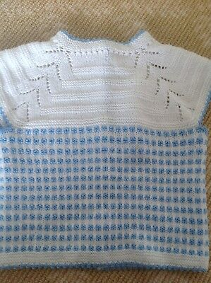 Kids Girls Boys Handmade Knitwear Blue White Vest Cardigan Coat Top One Size 0-1