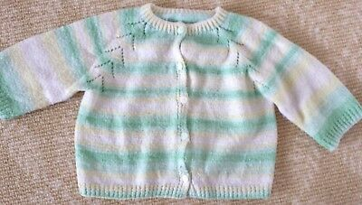 Kids Girls Boys Handmade Knitwear Green Yellow stripe Cardigan Top One Size 0-2