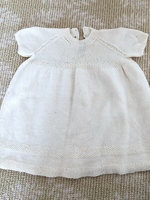 Kids Girls Handmade Knitwear Cream Beige Dress One Size 0-2