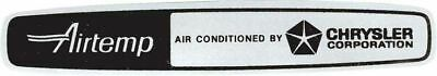 Airtemp Air Conditioned By Chrysler Corporation Decal, Valiant Dodge Plymouth
