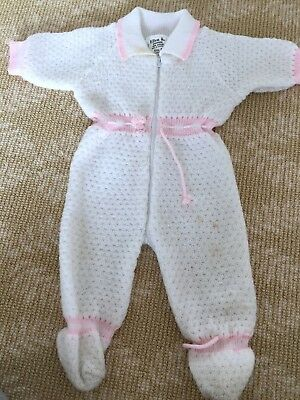 Kids Girls Handmade Knitwear White Pink Jumpsuit Overall Coat One Size 0-2