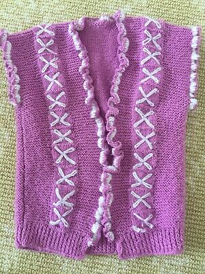 Kids Girls Handmade Knitwear Purple WHite Vest Cardigan Coat One Size 0-2