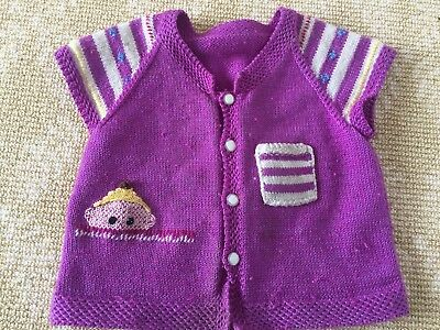 Kids Girls Handmade Knitwear Purple WHite Panda Vest Cardigan Coat One Size 0-2