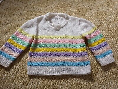 Kids Girls Handmade Knitwear White Stripped Colourful Top Jumper One Size 2 3 4