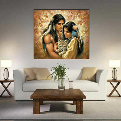 DIY Oil Painting Wall Home Garden Decor Picture Drawing Woman Man Wolf