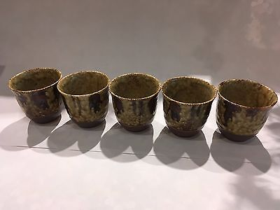 Japanese Tokusa Tea Cup Set of 5 Yunomi Brown - Stoneware - Made in Japan - F/S