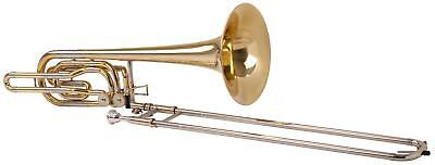 BASS TROMBONE WIND INSTRUMENT TRUMPET BRASS Bb TUNING 2 VALVES TUNING SLIDE CASE