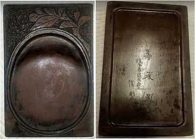 INK STONE Japanese Chinese Asian SIGNED Calligraphy CARVED 5.25 x 3.5 Antique