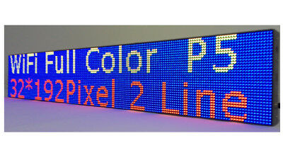"LED Sign WIFI P5 HD Full Color 38""x 6.5"" Programmable Scrolling Message Display"