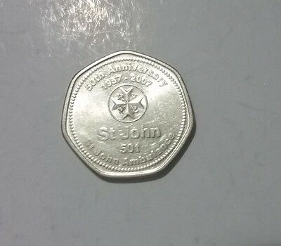 2007 PNG Papua New Guinea  50 Toea St John Ambulance 7-sided coin