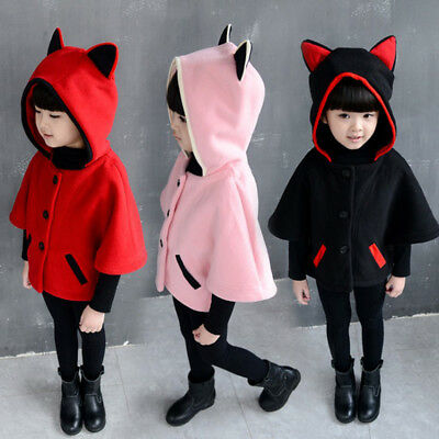 Kids Toddler Baby Girl Winter Hooded Cloak Thick Coat Warm Outerwear Tops Jacket
