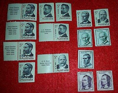 Old Australian 5c stamps famous people, Prime Ministers etc