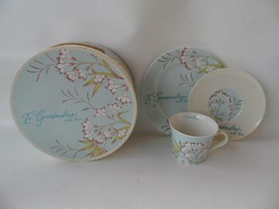 Boxed Gift Set To Grandmother With Love Cup Saucer Plate Blue Floral Tea Trio