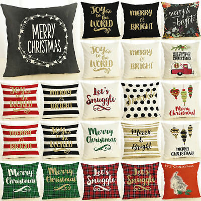 Cotten Linen Decorative Pillow Christmas Cushion Cover Pillowslip Home Decor