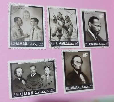 Human Rights Theme lot of 5 AJMAN postage stamps Lincoln, Kennedy, King (UAE)