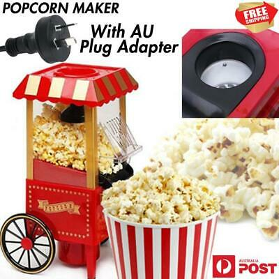 Mini Red Hot Air Pop Corn Maker Cart Popper Machine Tabletop Vintage Home Movie