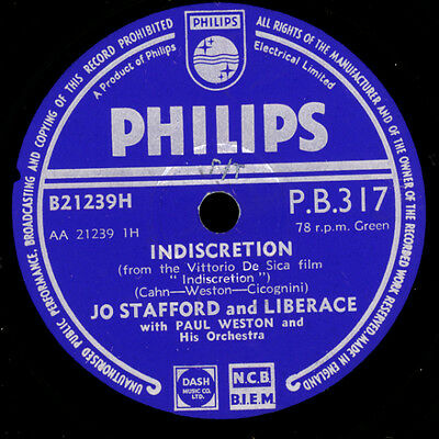 JO STAFFORD & LIBERACE  Indiscretion / April and you   Schellackplatte     S8372