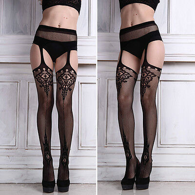 Black Sexy Fashion Lace Pantyhose Tights Suspender Garter Belt and Stocking sets