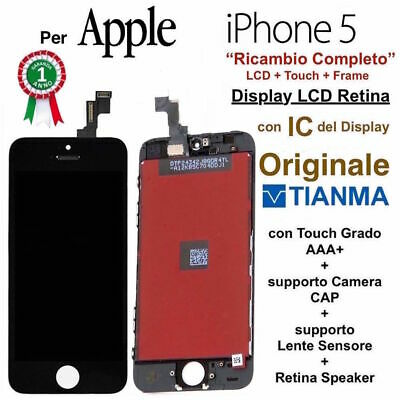 Display LCD Retina con Touch Screen Vetro Schermo per Apple iPhone 5 Nero TIANMA