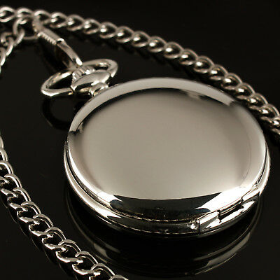 Mens Silver Case White Dial Hand-winding Mechanical Pocket Watch Automatic Man