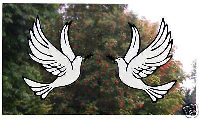 Pair of Doves Stained Glass Effect Window Decor Clings
