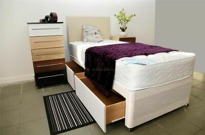 2ft6 Single Divan Bed With 8'' Mattress Base In 3 Colours! Storage And Headboard
