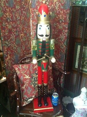 GIANT XL XMAS NUTCRACKER/SOLDIER/KING/DRUMMER SIZE 3ft, HAND PAINTED, NEW,