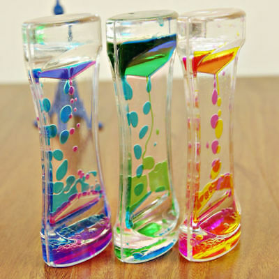 New Floating Color Mix Illusion Timer Slim Acrylic Liquid Oil Hourglass Timer UK