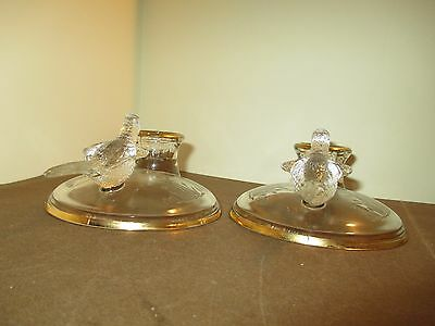 """Jeannette Flying Pheasant Candle Sticks - One Pair - 3"""" VGUC"""