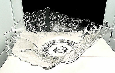 "Cambridge Chantilly Crystal Bowl 13"" Curled Rim Console Center Fruit"