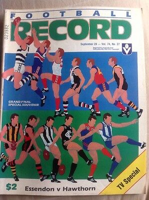 AFL VFL Football Record 1985 Grand Final Essendon v Hawthorn TV Special Edition