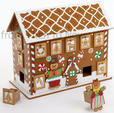 Wooden Gingerbread House Advent Calendar With Drawers Christmas Xmas Countdown