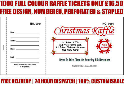 1000 Printed Personalised Raffle Prize Draw Tickets / Xmas
