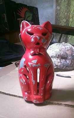Vintage Cast Metal Cat Candle Holder Halloween light /lamp unknown make and age?