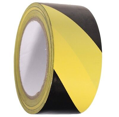 Black-Yellow PVC Hazard Warning Tape Roll Self Adhesive Floor Security50mm x 33m
