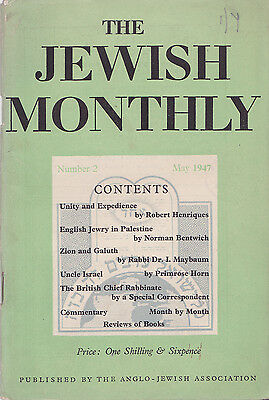 The Jewish Monthly Number 2 May 1947 pub. The Anglo-Jewish Association