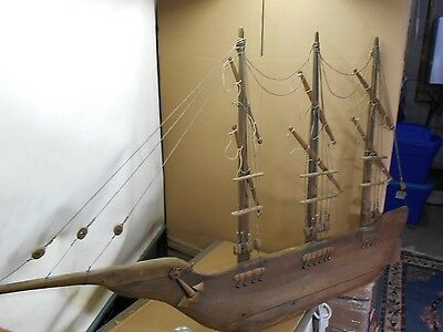 Antique / Vintage Hand Made Wood Sailing Ship Wall Hanging,Rustic -ART- LARGE
