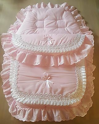 Beautiful luxury pram set footmuff/cosytoes romany style in pink and white.