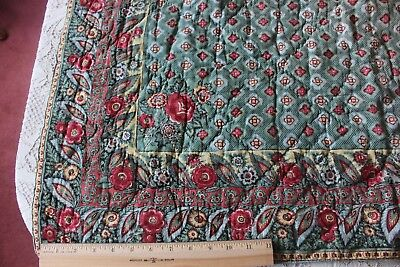 "Antique Hand Blocked Country French Quilt c1820-1830~Rose Border~42""LX41""W"
