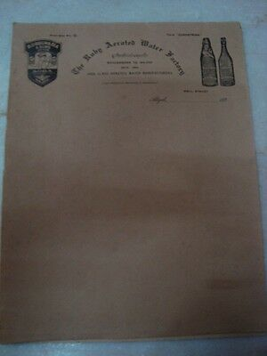 Old vintage paper Letter Head of 'The Ruby Aerated Water Factory' from India 193